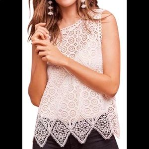 Anthropologie Deletta Crochet Top White